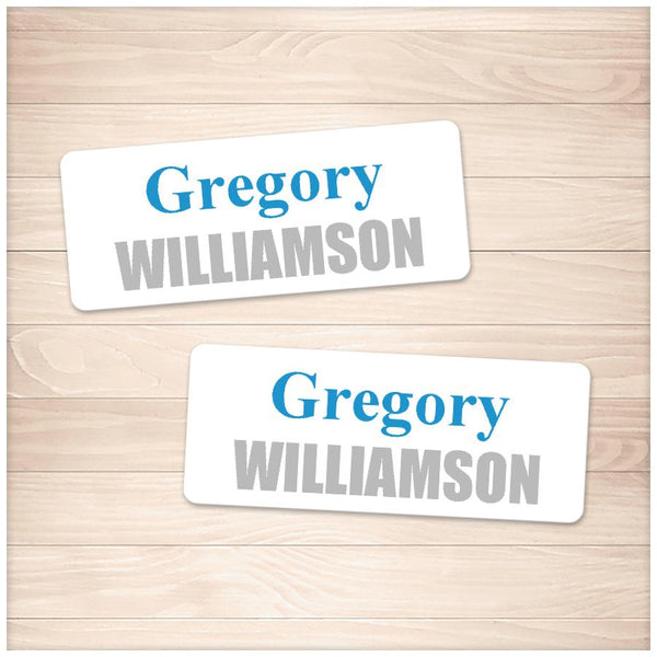 Printable Name Labels Blue and Gray for School Supplies at Printable Planning