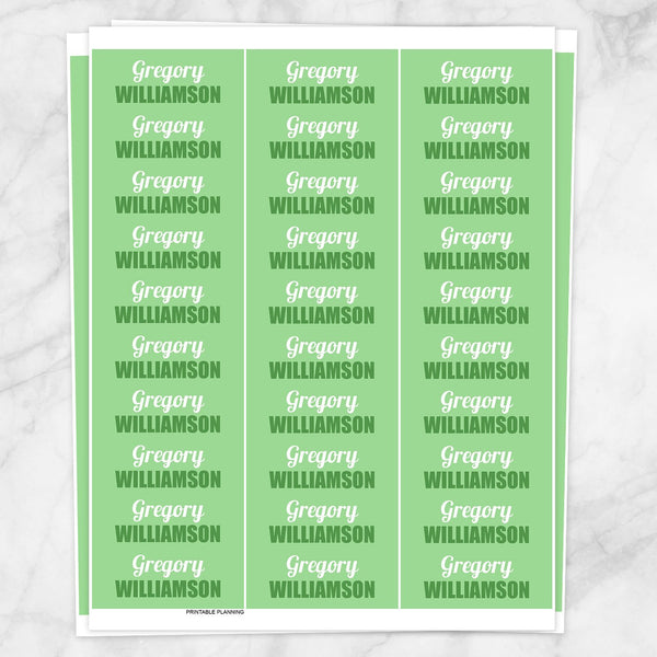 Green Name Labels for School Supplies - Printable Planning