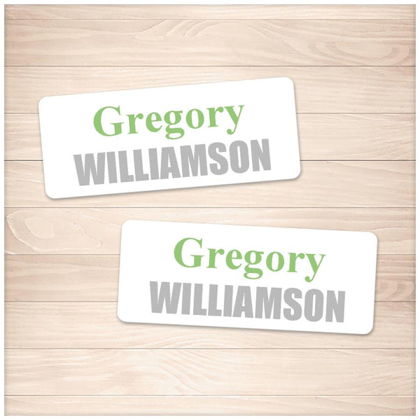 Printable Name Labels Green and Gray for School Supplies at Printable Planning