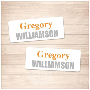 Printable Name Labels Orange and Gray for School Supplies at Printable Planning