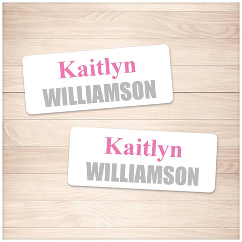 Printable Name Labels Pink and Gray for School Supplies at Printable Planning