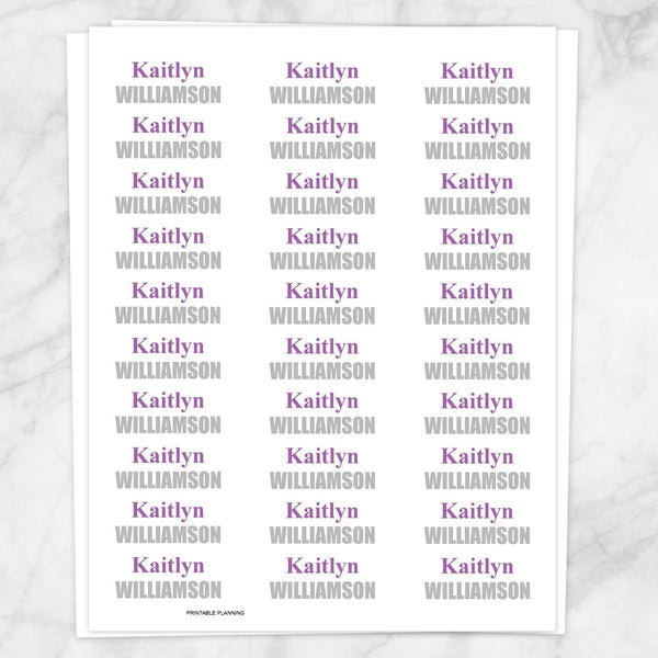 Name Labels Purple and Gray for School Supplies - Printable Planning