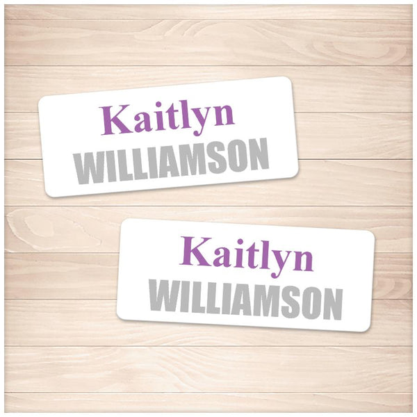 Printable Name Labels Purple and Gray for School Supplies at Printable Planning