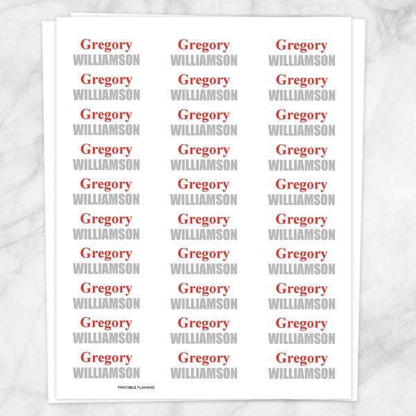 Name Labels Red and Gray for School Supplies - Printable Planning