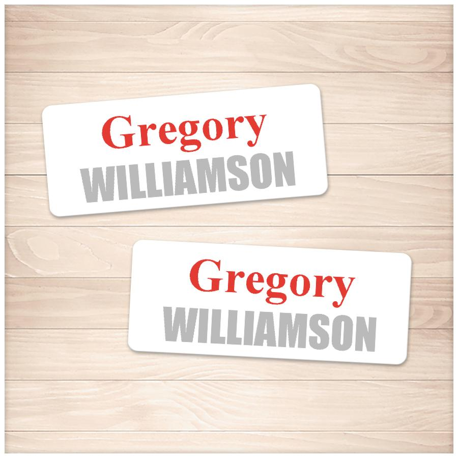 Printable Name Labels Red and Gray for School Supplies at Printable Planning