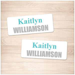 Printable Name Labels Turquoise and Gray for School Supplies at Printable Planning
