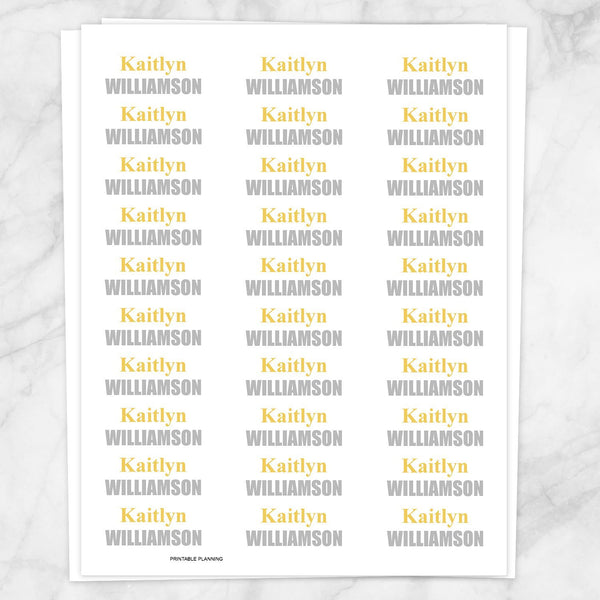 Name Labels Yellow and Gray for School Supplies - Printable Planning