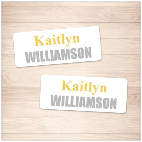 Printable Name Labels Yellow and Gray for School Supplies at Printable Planning