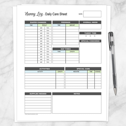 Printable Nanny Log - Daily Infant Care Sheet - Blue and Green, at Printable Planning