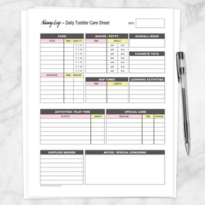 Printable Nanny Log - Daily Toddler Care Sheet - Pink and Yellow at Printable Planning
