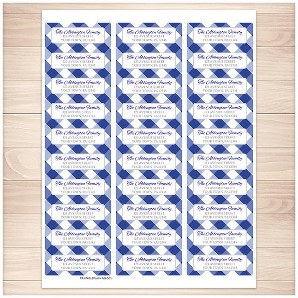 Navy Blue Gingham Pattern Address Labels - Printable Planning