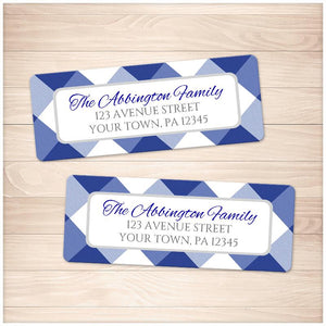 Navy Blue Gingham Pattern Address Labels - Printable