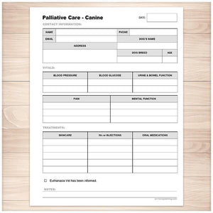 Palliative Care Form for Canines - Printable, at Printable Planning