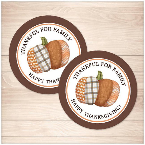 Patchwork Pumpkin Thanksgiving Stickers or Cupcake Toppers - Printable