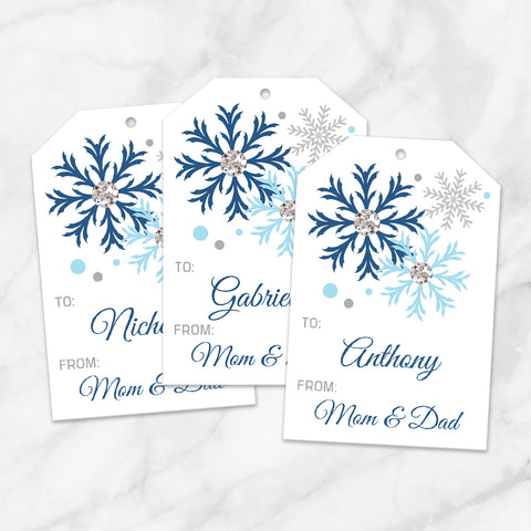 Printable Snowflake Personalized Gift Tags in Blue at Printable Planning
