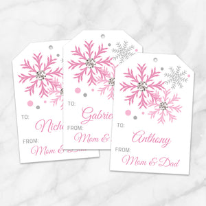 Printable Snowflake Personalized Gift Tags in Pink at Printable Planning
