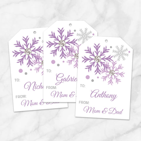 Printable Snowflake Personalized Gift Tags in Purple at Printable Planning
