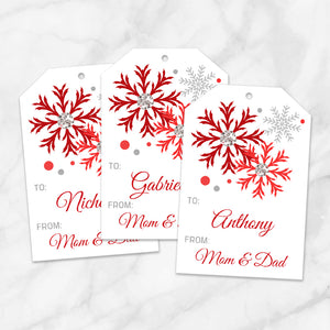 Printable Snowflake Personalized Gift Tags in Red at Printable Planning