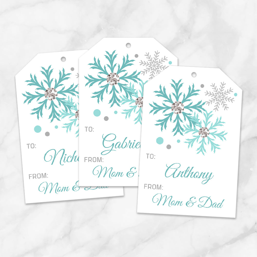 Printable Snowflake Personalized Gift Tags in Turquoise at Printable Planning