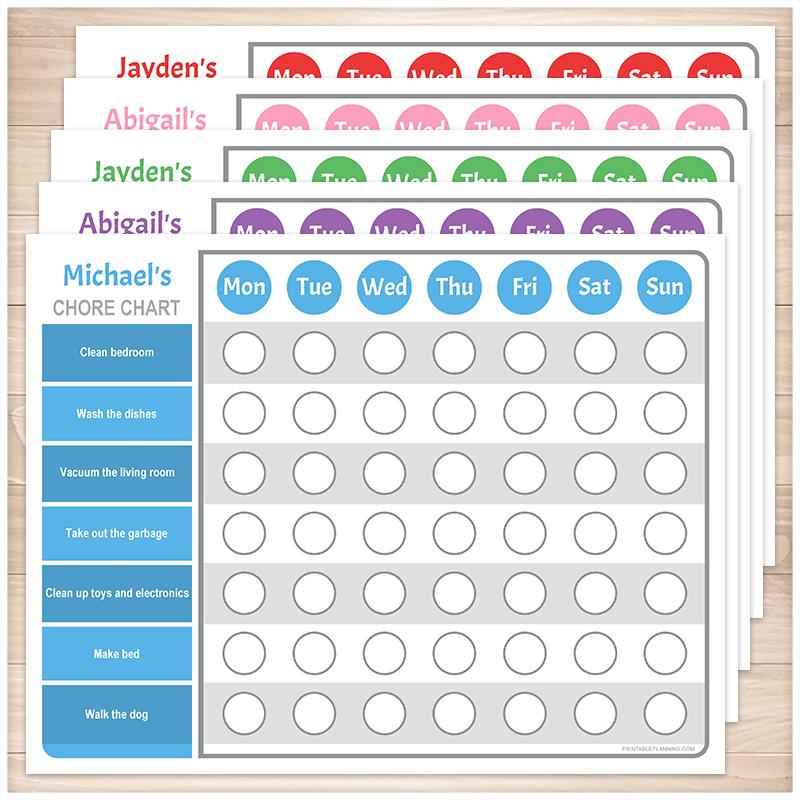 Personalized Chore Chart BUNDLE, 5 Colored Weekly Pages - Printable, at Printable Planning
