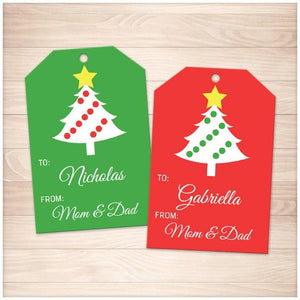 photograph relating to Personalized Gift Tags Printable referred to as Xmas Tree Pink and Inexperienced Tailored Present Tags - Printable at Printable Developing for simply just 5.00