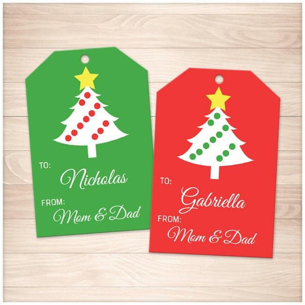 Christmas Tree Red and Green Personalized Gift Tags - Printable, at Printable Planning