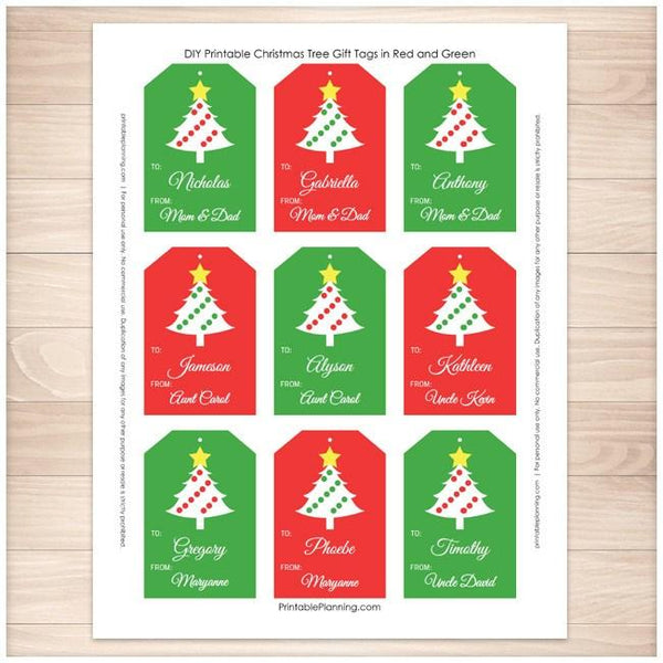 Christmas Tree Red and Green Personalized Gift Tags 9 per page - Printable Planning