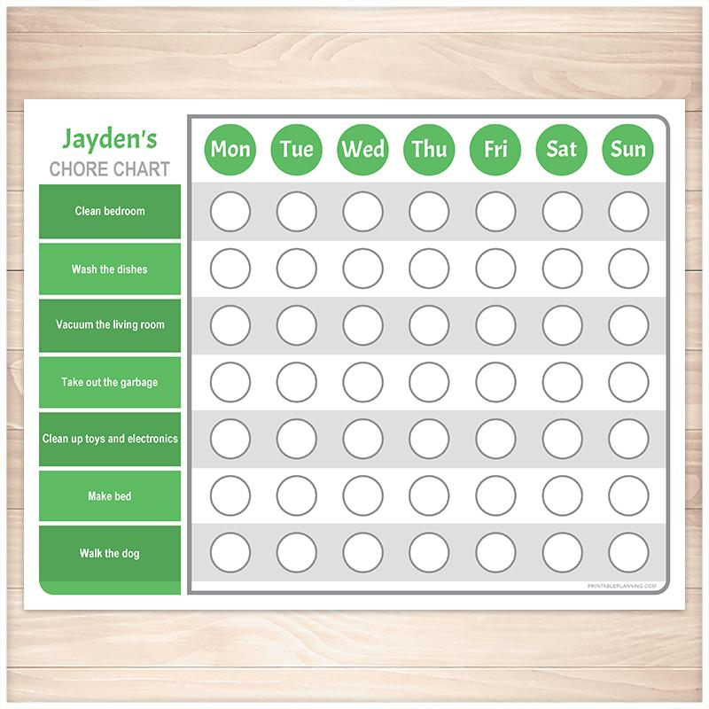 Personalized Chore Chart, Green Weekly Page - Printable, at Printable Planning