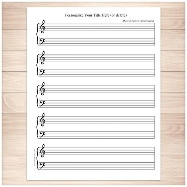 Personalized Blank Piano and Vocals Sheet Music - Printable
