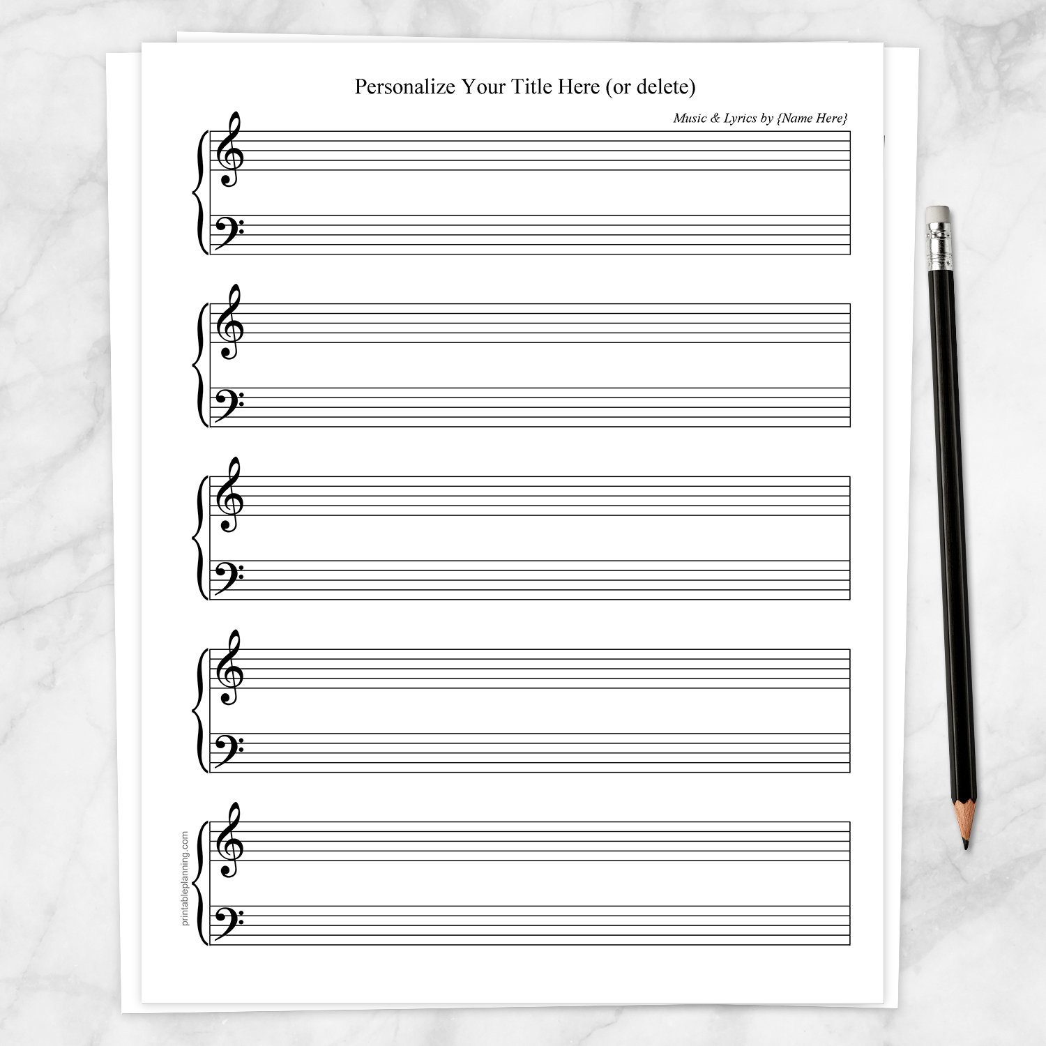 Printable Personalized Blank Piano and Vocals Sheet Music at Printable Planning