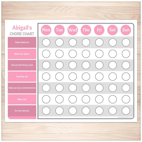Personalized Chore Chart BUNDLE, Pink Purple Weekly Pages - Printable, at Printable Planning