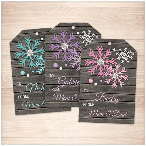 Rustic Snowflake Personalized Gift Tags - Turquoise Purple Pink - Printable