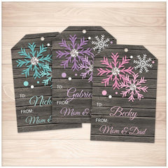Rustic Snowflake Personalized Gift Tags - Turquoise Purple Pink - Printable at Printable Planning