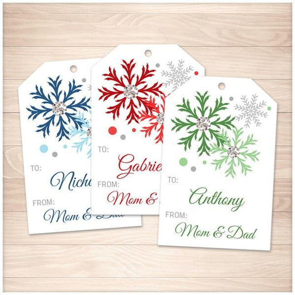 Snowflake Personalized Gift Tags - Blue Red Green - Printable Planning