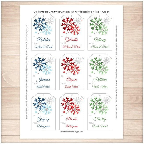 Snowflake Personalized Gift Tags 9up - Blue Red Green - Printable Planning