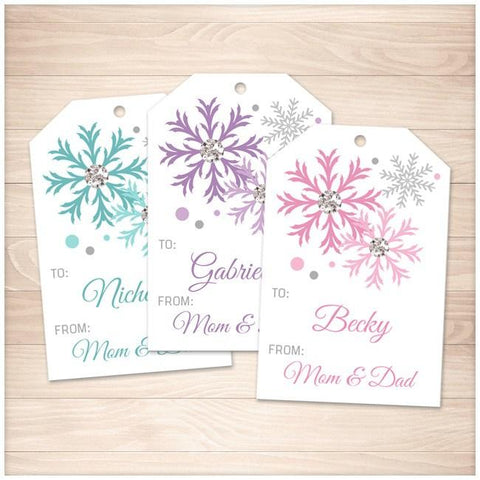 Snowflake Personalized Gift Tags - Turquoise Purple Pink - Printable Planning