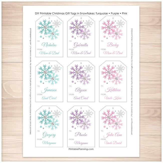 Snowflake Personalized Gift Tags - Turquoise Purple Pink ...