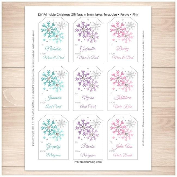 Snowflake Personalized Gift Tags - Turquoise Purple Pink 9up - Printable Planning