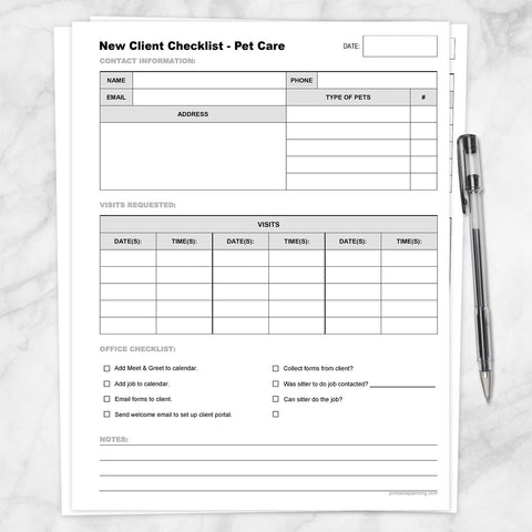 Printable Pet Care - New Client Checklist, Visits List at Printable Planning