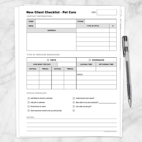 Printable Pet Care - New Client Checklist, Visits and Overnights at Printable Planning