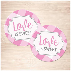 Pink Gingham Love is Sweet Stickers - Printable, at Printable Planning