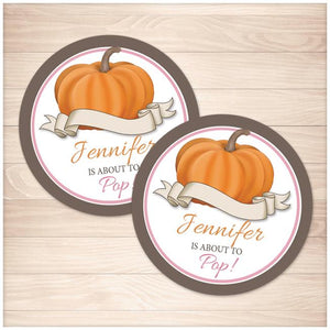 Pink Pumpkin 'About to Pop' Personalized Favor Stickers - Printable