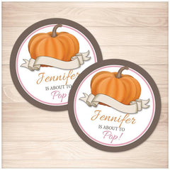 Pink Pumpkin 'About to Pop' Personalized Favor Stickers - Printable at Printable Planning