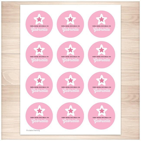Pink Star Personalized Bookplate Stickers - Printable Planning