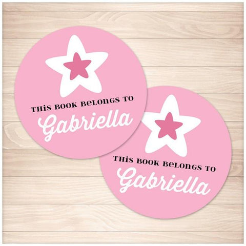 Pink Star Personalized Bookplate Stickers 2up - Printable Planning