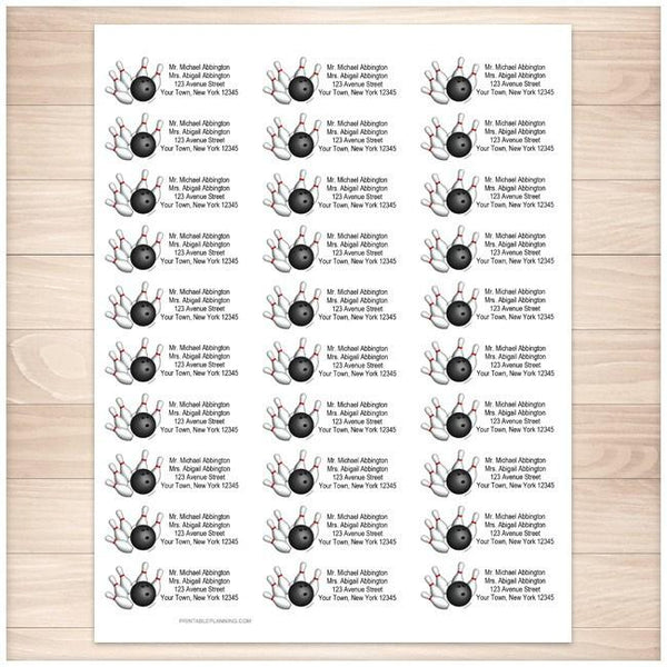 Pins and Ball Bowling Address Labels 30up - Printable Planning