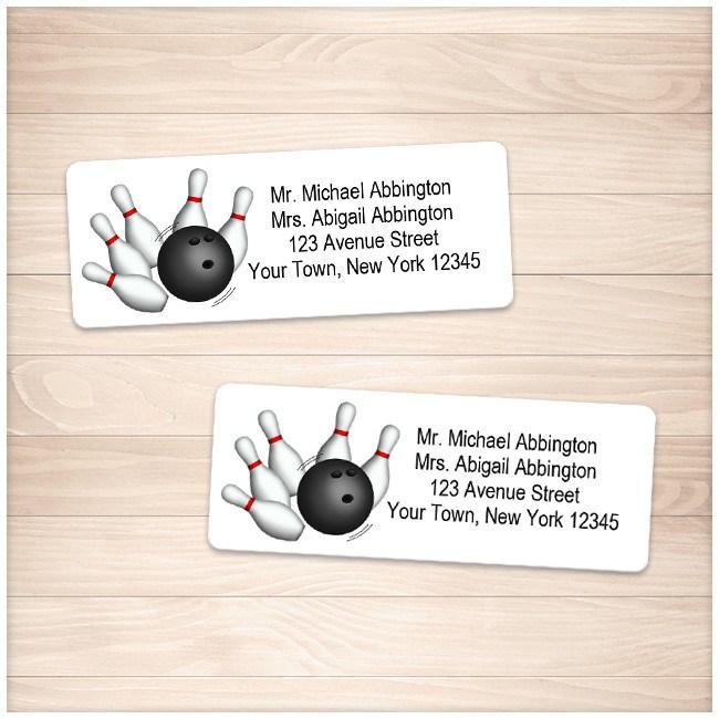 Pins and Ball Bowling Address Labels - Printable Planning