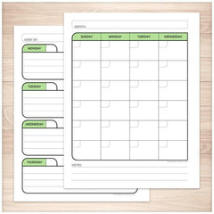 Green Monthly Weekly Calendar Planner Pages - Printable Planning