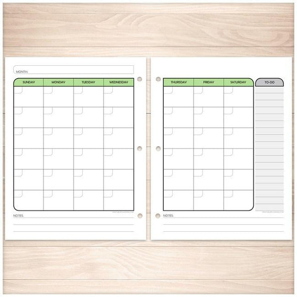 Calendar Planner Pages : Green monthly weekly calendar planner pages printable