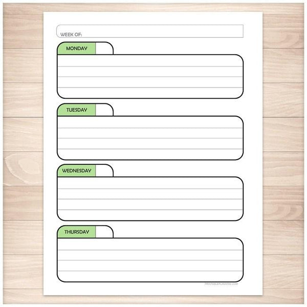 Green Monthly Weekly Calendar Planner Pages - Printable, at Printable Planning